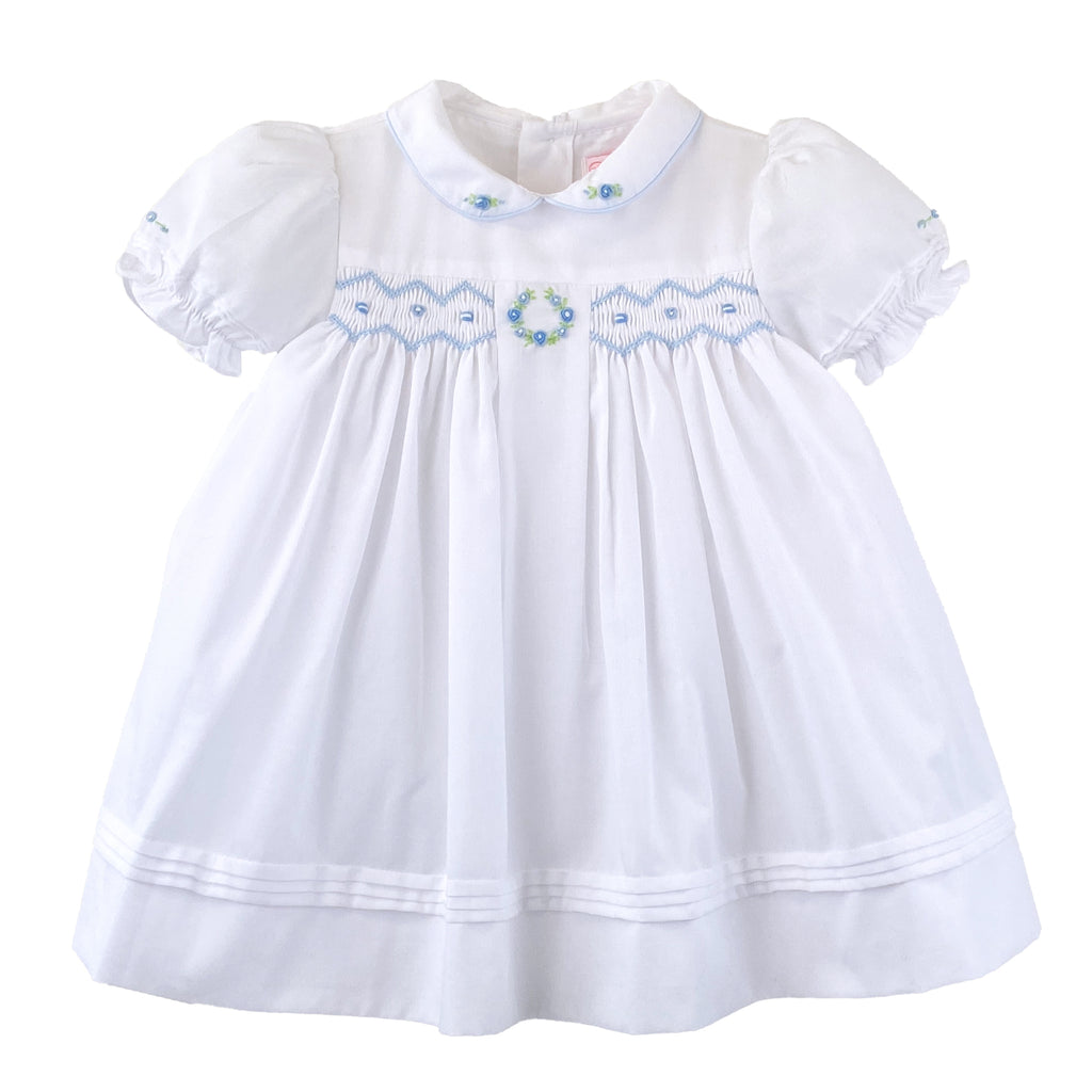 3 Piece Girls Embroidery & Smocked Dress