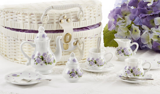 Purple Glory Flower Tea Set