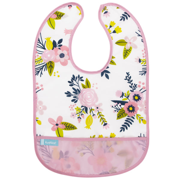 Pink Garden Flowers Waterproof Bib