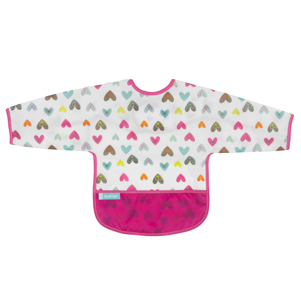 Girls Heart Long Sleeve Waterproof Bib