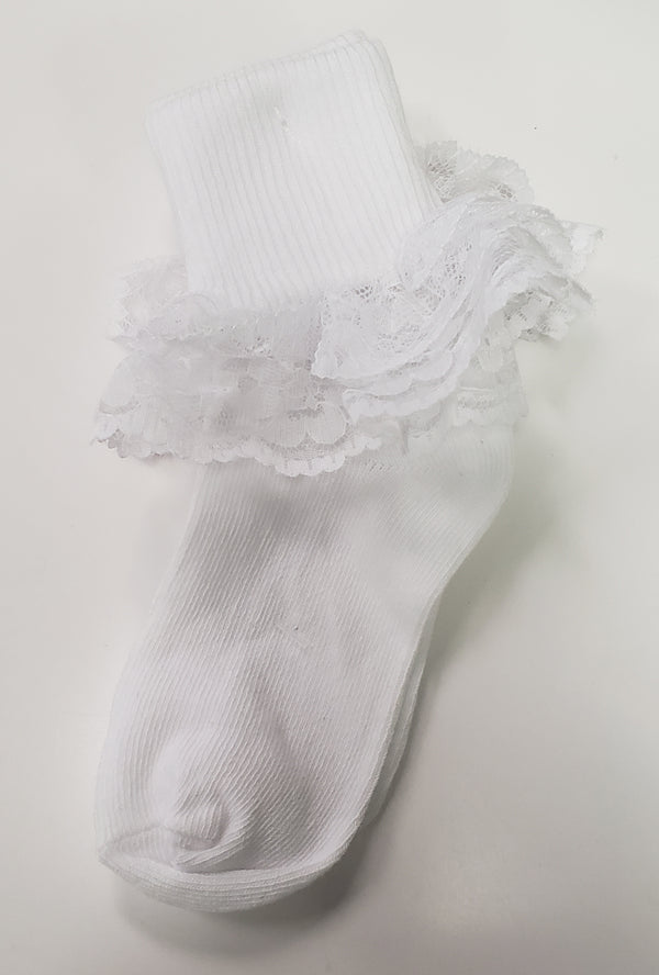 DOUBLE LACE RUFFLE SOCKS