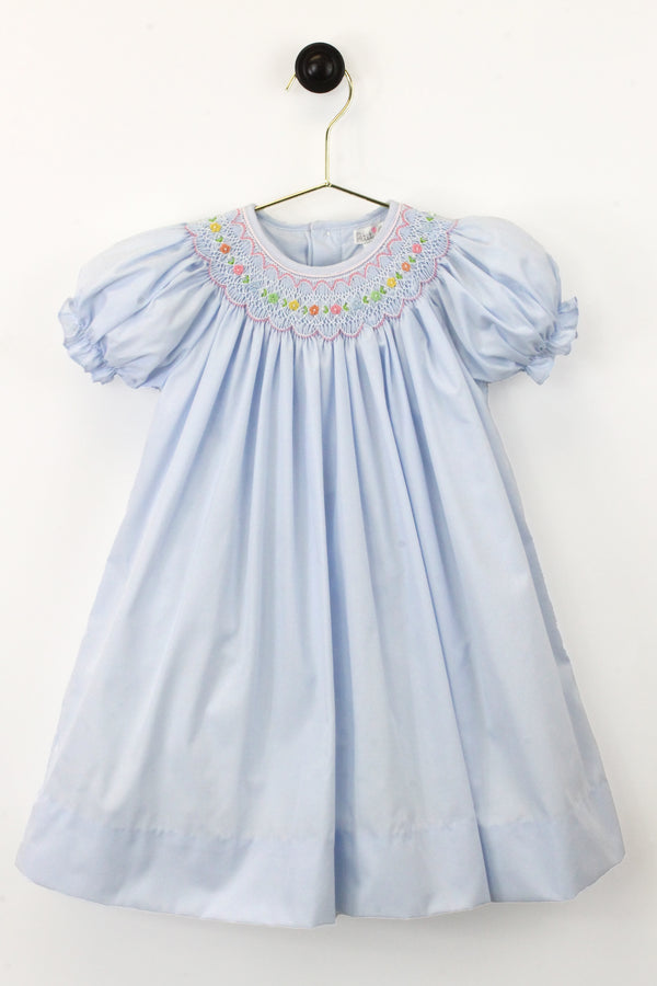 2 Piece Girls Scalloped Smocked Dress