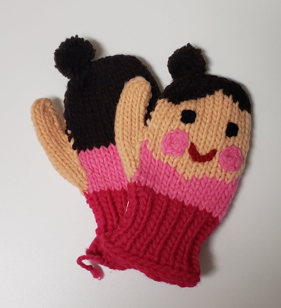 Girl's Face Mittens