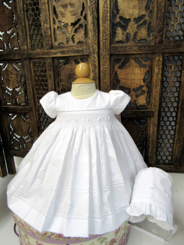 3 Piece Smocked Christening Set With Bonnet