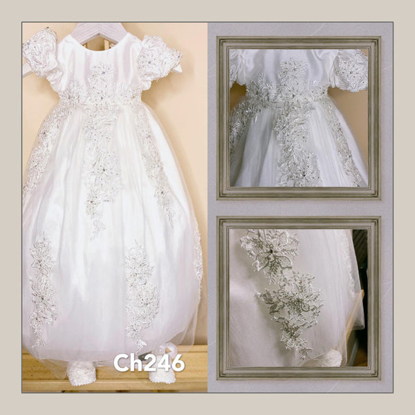 2 Piece Bead & Rhinestone Christening Dress w/Bonnet