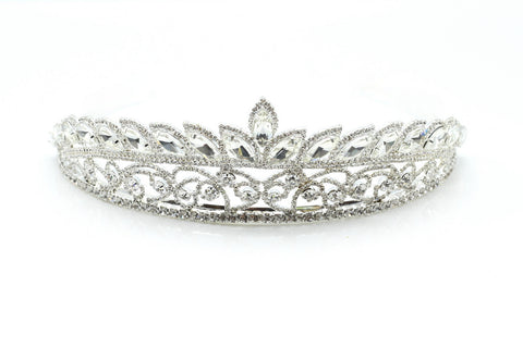 Ladies Princess Tiara Diamante Rhinestone Silver classic wedding accessory for brides, imported.