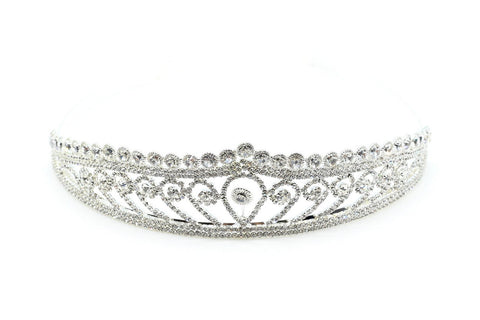 Ladies tiara diamante crown classic design rhinestones in silver, bridal tiara, wedding accessories.