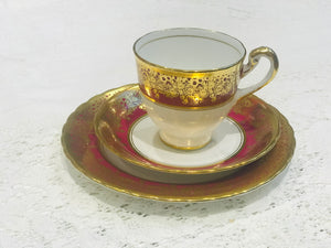 Tea cup and Saucer Set - Red/Gold - New Chelsea China