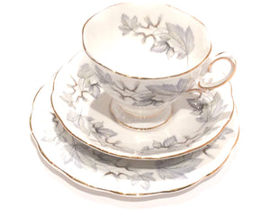 Royal Albert China- Silver Maple - Tea cups Teacup/Saucer - Tea Cup trio