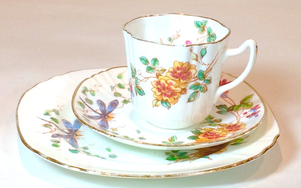 Vintage China tea cup & saucer set afternoon tea Dragonfly's and flowers hand painted tea party