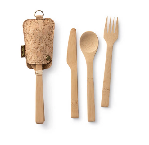 Travel Utensil Set with Cork Pouch