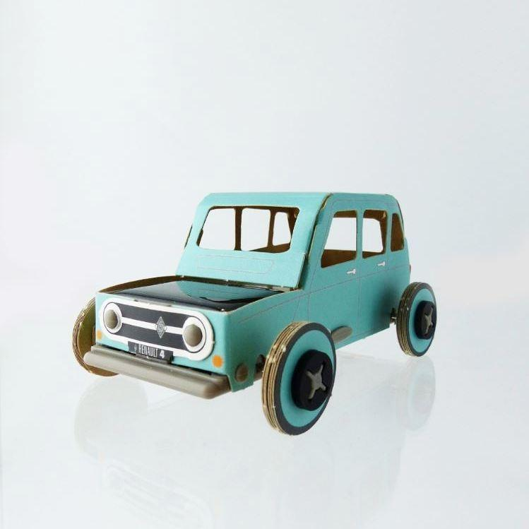 Autogami solar toy car - Blue Retro Renault