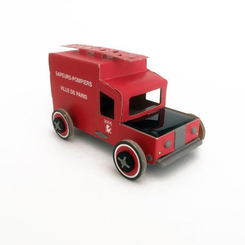 Autogami solar toy car - Red Retro Firetruck