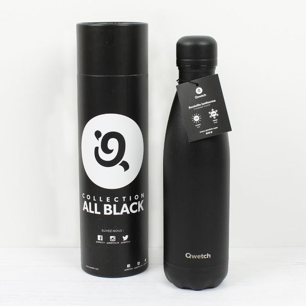 Qwetch Insulated Stainless Steel Bottle - All Black - 500ml