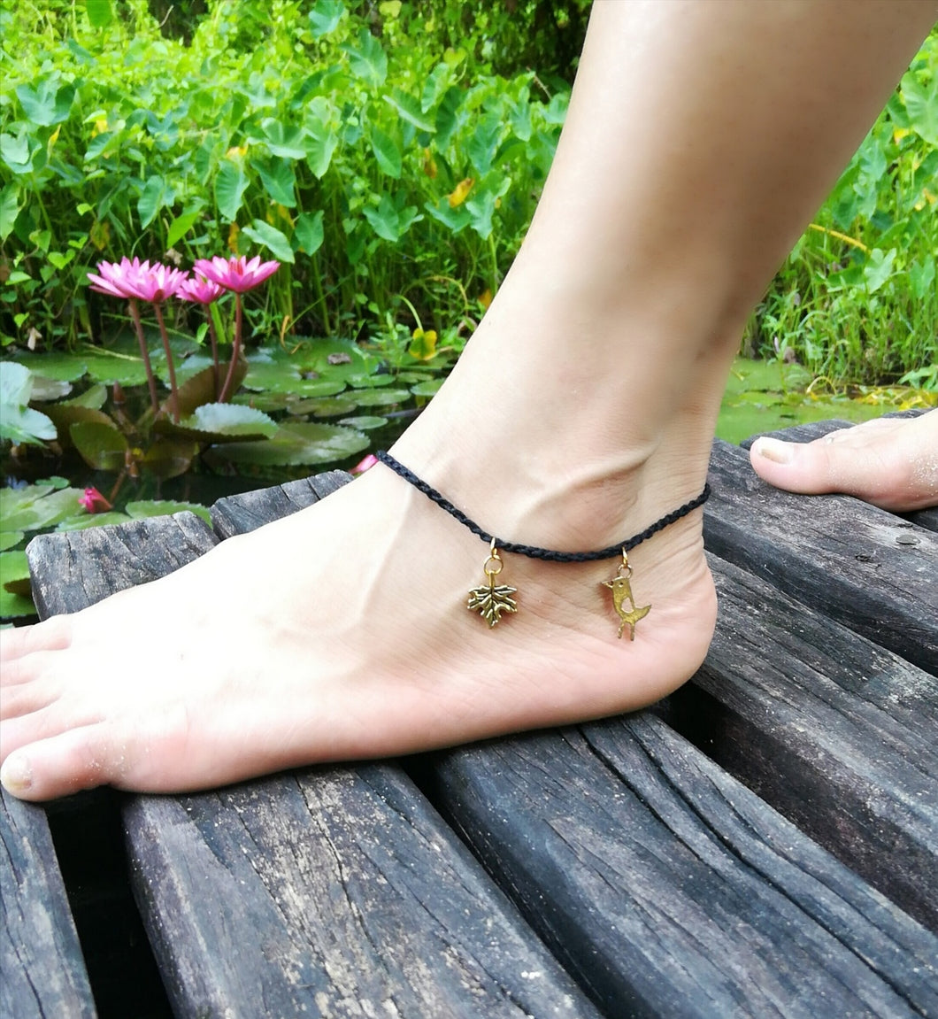Bird and Leaf Anklet