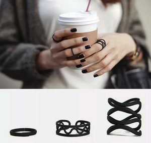 3 Pcs Pretty In Punk Black Rings
