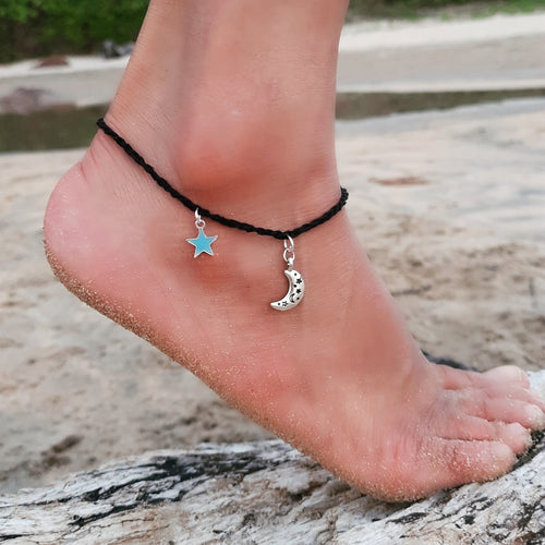 Moon & Glow In The Dark Star Anklet