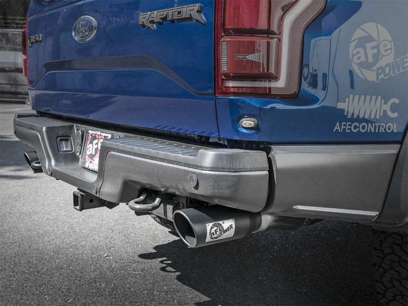 aFe MACH Force-Xp 3in to 3-1/2in 304 SS Cat-Back Exhaust w/Black Tip 17-18 Ford F-150 Raptor V6 3.5L-Catback-Deviate Dezigns (DV8DZ9)