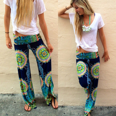 Floral Casual Wide Leg Long loose Harem Pants with Elastic Waist