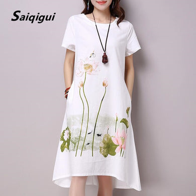 Women's natural  Casual Cotton Linen lotus printed Dress with pockets