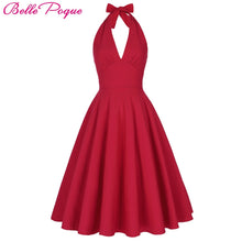 Load image into Gallery viewer, Women's  Retro Vintage Halter V-Neck Party  marilyn monroe style dress