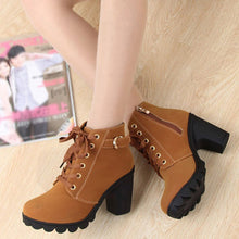 Load image into Gallery viewer, Women-s   Laced  Side zipper Thick tread High-heeled Ankle Boots