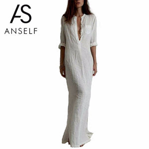 Anself  Women's Boho cotton mix Autumn Casual Long Maxi Dress Women