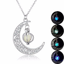 Load image into Gallery viewer, 2017 fashion Glow In the dark Necklace Moon shape Hollow with luminous  ball