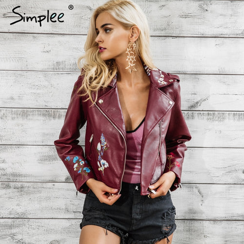 Embroidery  winter woman's faux leather  jacket  . various funky colours.