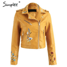 Load image into Gallery viewer, Embroidery  winter woman's faux leather  jacket  . various funky colours.