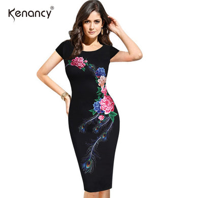 Women's  Floral Flower Peacock Printed knee length  Dress with back split