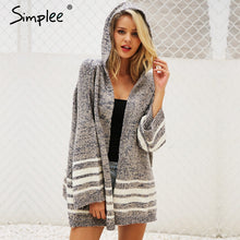 Load image into Gallery viewer, woman's  Hooded autumn  winter knitted sweater/ cardigan with Flared sleeves