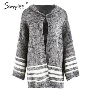 woman's  Hooded autumn  winter knitted sweater/ cardigan with Flared sleeves