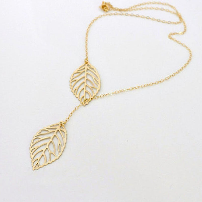1PC Womens Girls Simple Metal Double Leaf Pendant Alloy Choker Necklace