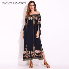Load image into Gallery viewer, Boho Women's off the shoulder  Long elegant Dress  with flower print