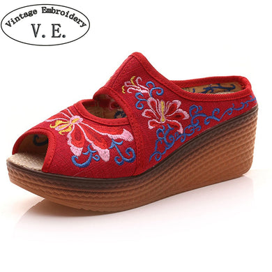 5cm Heel Women's casual  Peep Toe mules  with Dragonfly Embroidery