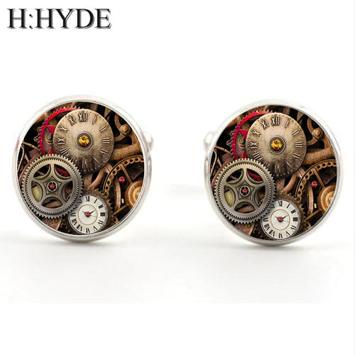 H:HYDE Watch Movement Pattern Cufflinks for Men Stainless Steel Steampunk Gear Cuff links for Mens