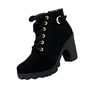 Women-s   Laced  Side zipper Thick tread High-heeled Ankle Boots