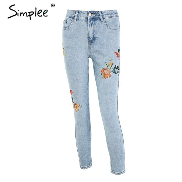 Floral embroidery women's  high waisted skinny jeans