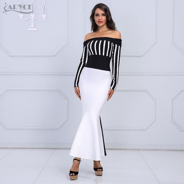 ADYCE 2018 Chic  Women's Bandage  Black & White Long Sleeve Striped  party dress