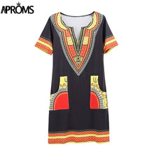 Load image into Gallery viewer, Women's  Sexy V Neck Pocket Patchwork Bodycon Tunic top  African Print
