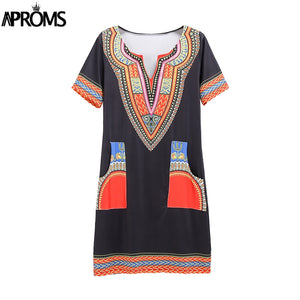 Women's  Sexy V Neck Pocket Patchwork Bodycon Tunic top  African Print