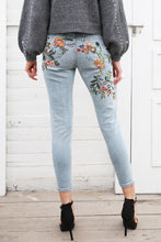 Load image into Gallery viewer, Floral embroidery women's  high waisted skinny jeans