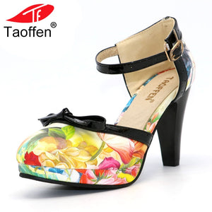 Women's unique retro style very High Heeled Shoes  with Round Toe  and strap