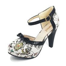 Load image into Gallery viewer, Women's unique retro style very High Heeled Shoes  with Round Toe  and strap