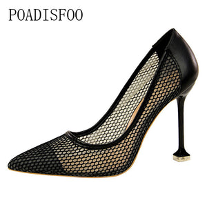 High-heeled shallow mouthed pointed   women's party  shoes with  thin mesh  and  square tip heel