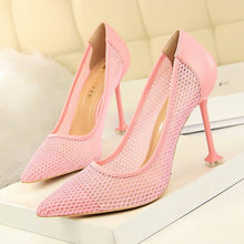 Load image into Gallery viewer, High-heeled shallow mouthed pointed   women's party  shoes with  thin mesh  and  square tip heel