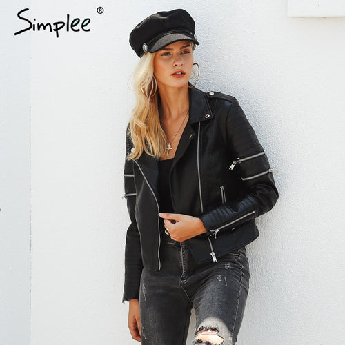 2018 new fashion women's autumn / winter cool look  PU leather  jacket