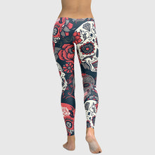 Load image into Gallery viewer, Sexy Women Yoga Sports Leggings Floral Skull Head Diamond Print High Waist Workout Running Skinny Slim Fitness Pants