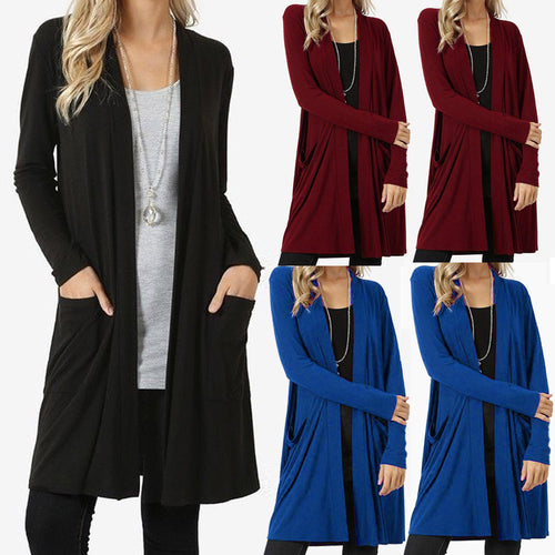 Womens Open Front Fly Away Cardigan Sweater Long Sleeve Plus Pockets Loose Drape